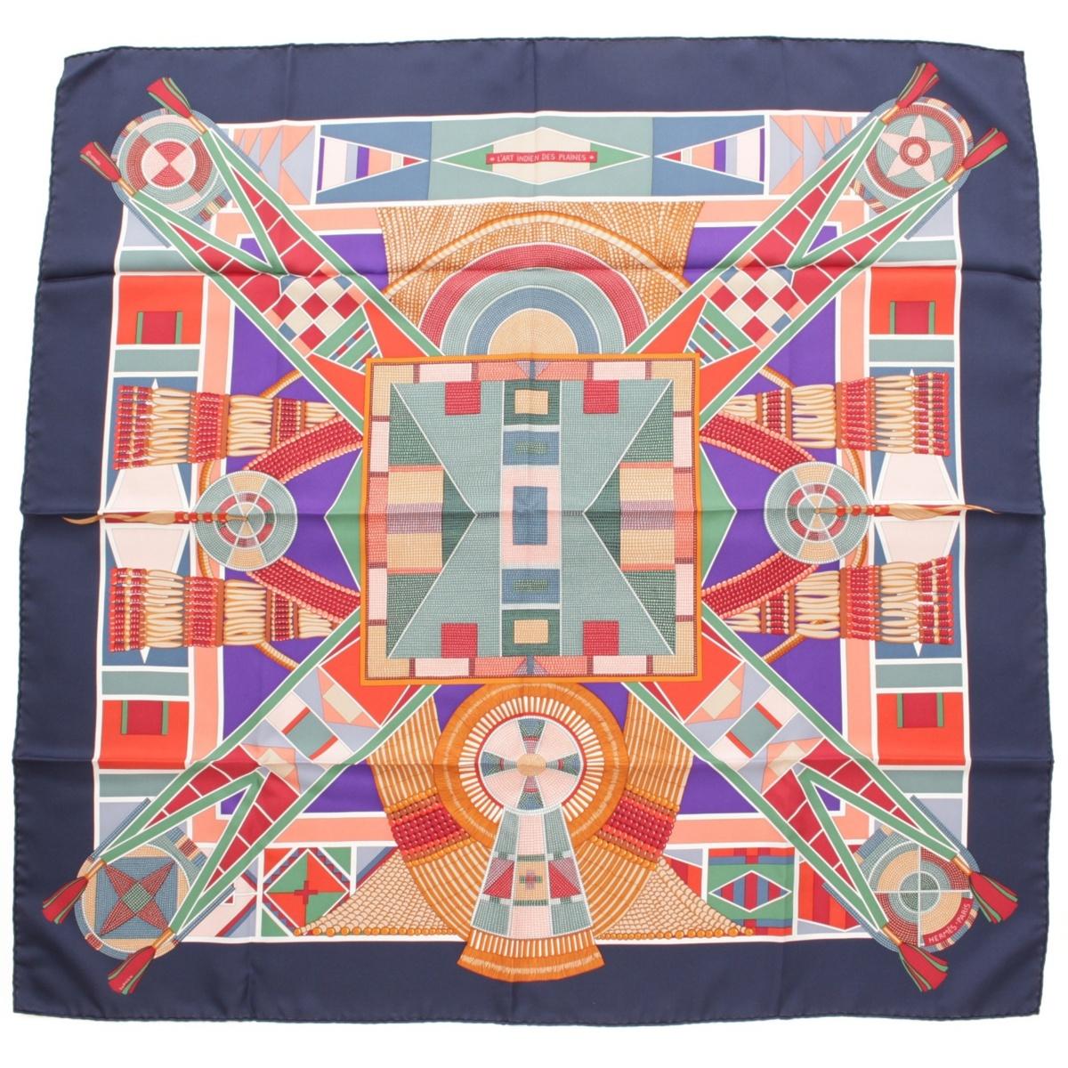 【エルメス】Hermes カレ90 シルクスカーフ L'ART INDIEN DES PLAINES 草原のインディアンアート 【中古】【鑑定済・正規品保証】54508