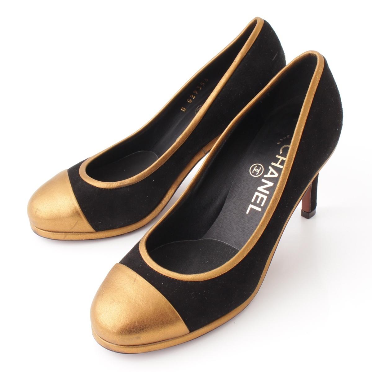 【シャネル】Chanel 13A ココマーク スエード ヒールパンプス ブラック×ゴールド 35 1/2C 【中古】【鑑定済・正規品保証】55435
