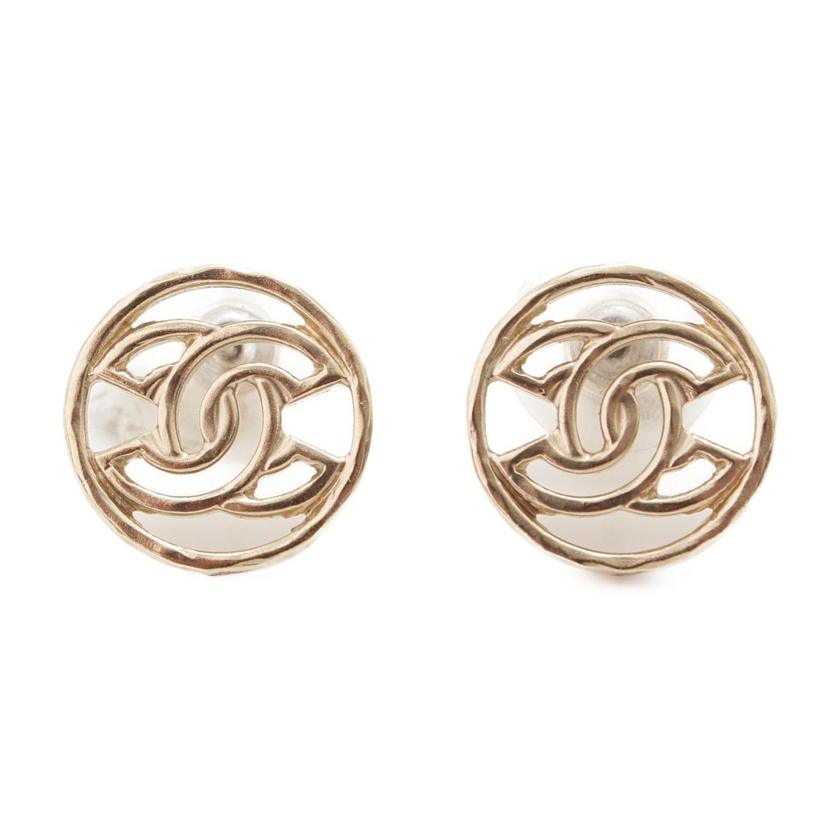 【シャネル】Chanel B17C ココマーク ラウンド ピアス ゴールド 【中古】【鑑定済・正規品保証】54883