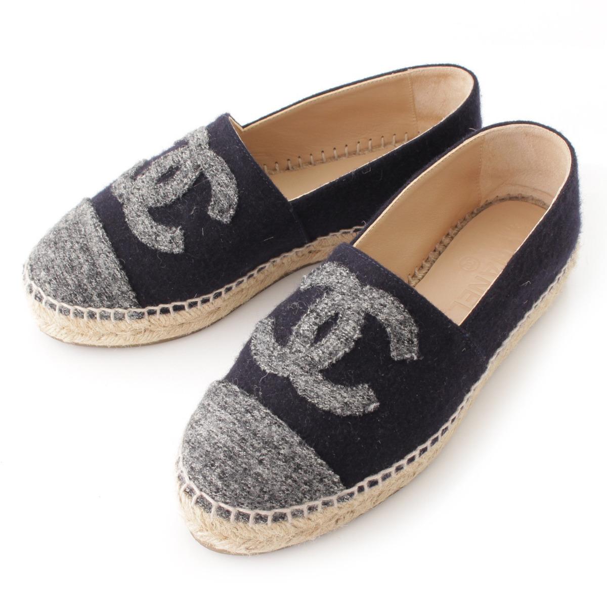 【シャネル】Chanel 16A ココマーク ウール エスパドリーユ スリッポン G29762 ネイビー 35 【中古】【鑑定済・正規品保証】55832