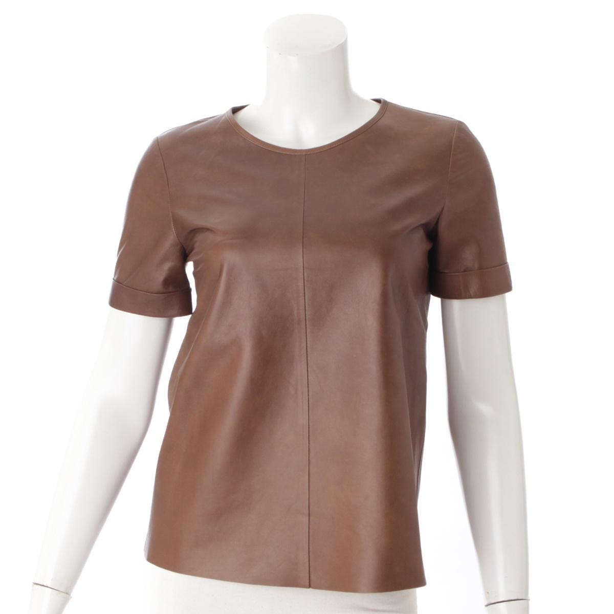 【グッチ】Gucci レザー 半袖 Tシャツ カットソー ブラウン 38 【中古】【鑑定済・正規品保証】55242