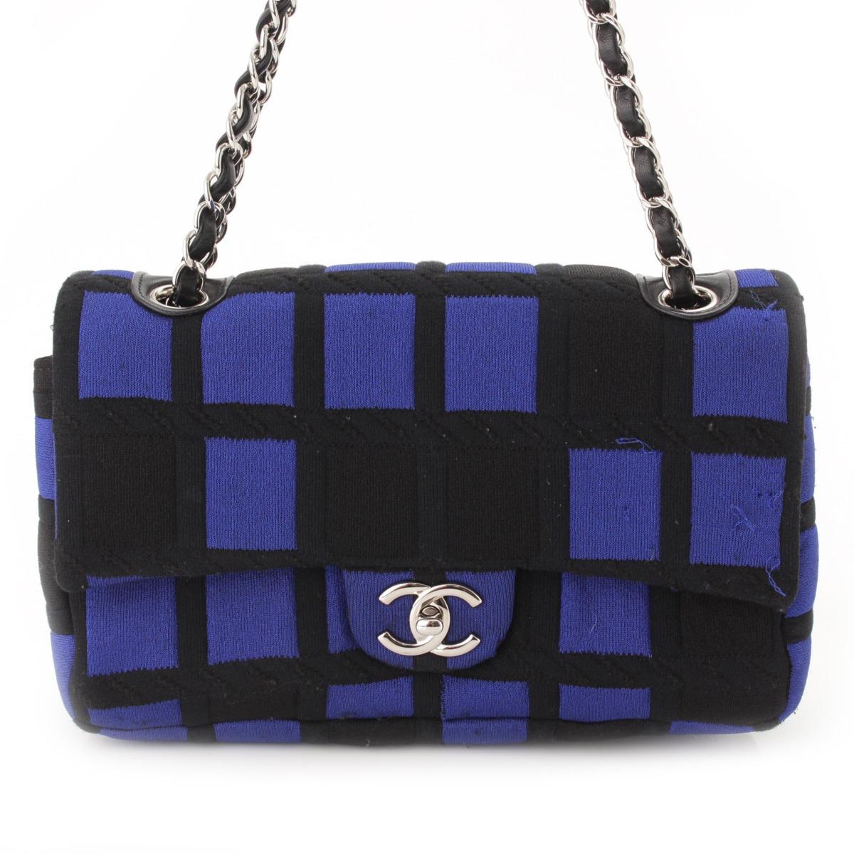 【シャネル】Chanel ターンロック チェーン ジャージー ショルダーバッグ 18番台 ブルー×ブラック 【中古】【鑑定済・正規品保証】54620