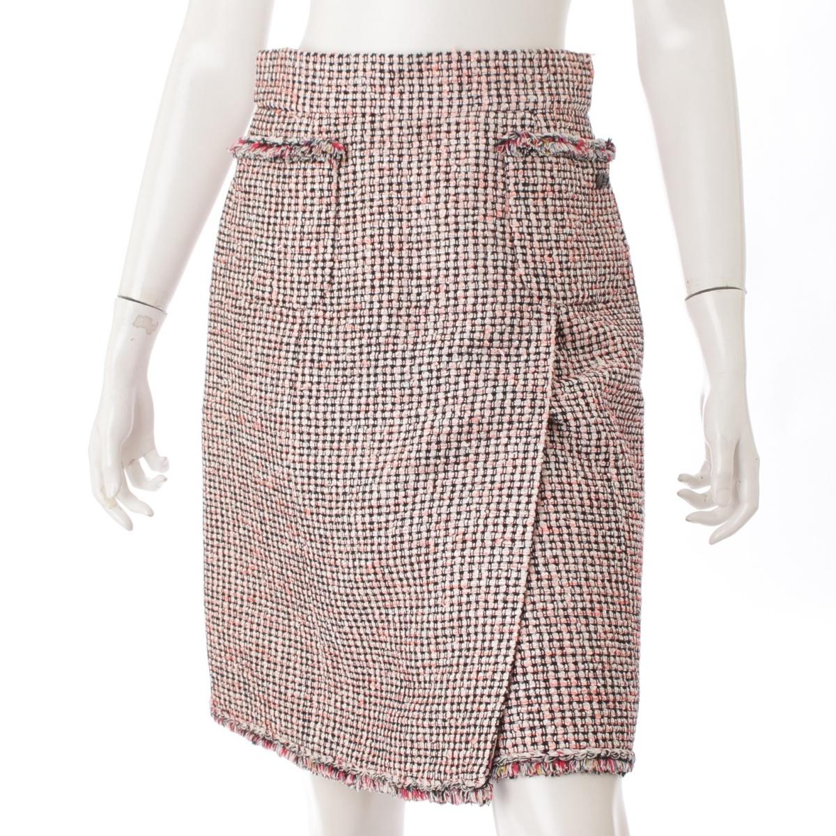 【シャネル】Chanel 11P ココマーク ツイードスカート P41005 ピンク 38 【中古】【鑑定済・正規品保証】57412