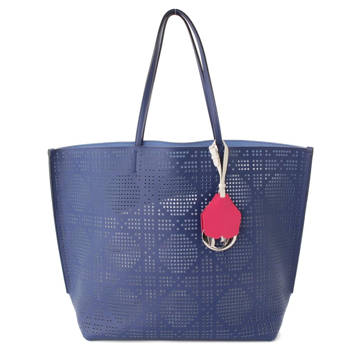 【クリスチャン ディオール】Christian Dior レザー パンチング トートバッグ ブルー 【中古】【鑑定済・正規品保証】56419