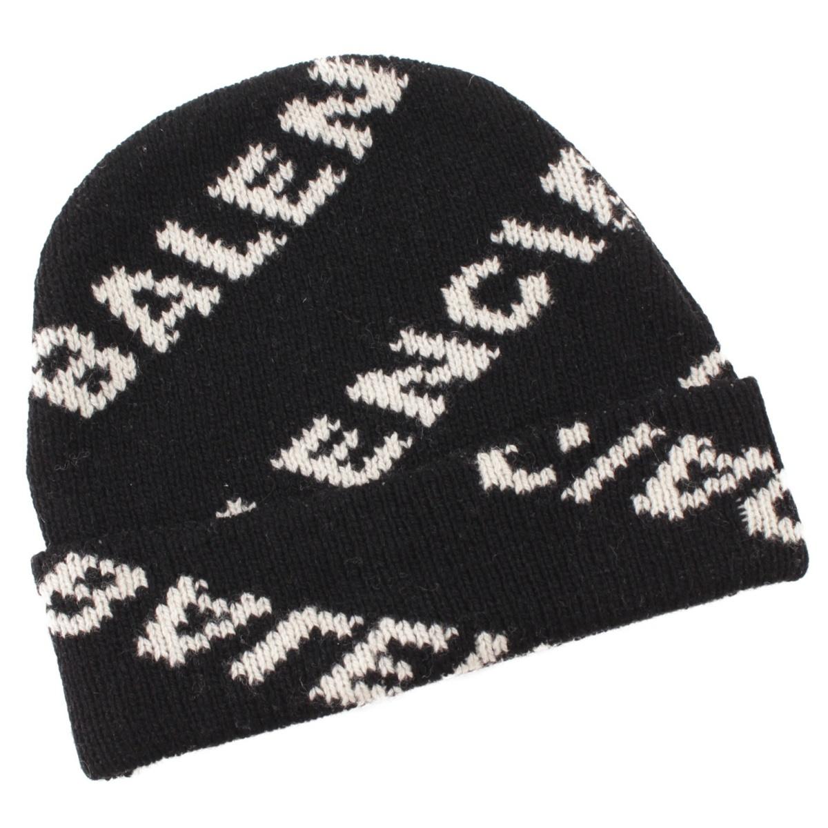 【バレンシアガ】Balenciaga 18AW ロゴ ビーニー ニットキャップ ニット帽 534447 ブラック 【中古】【鑑定済・正規品保証】58480