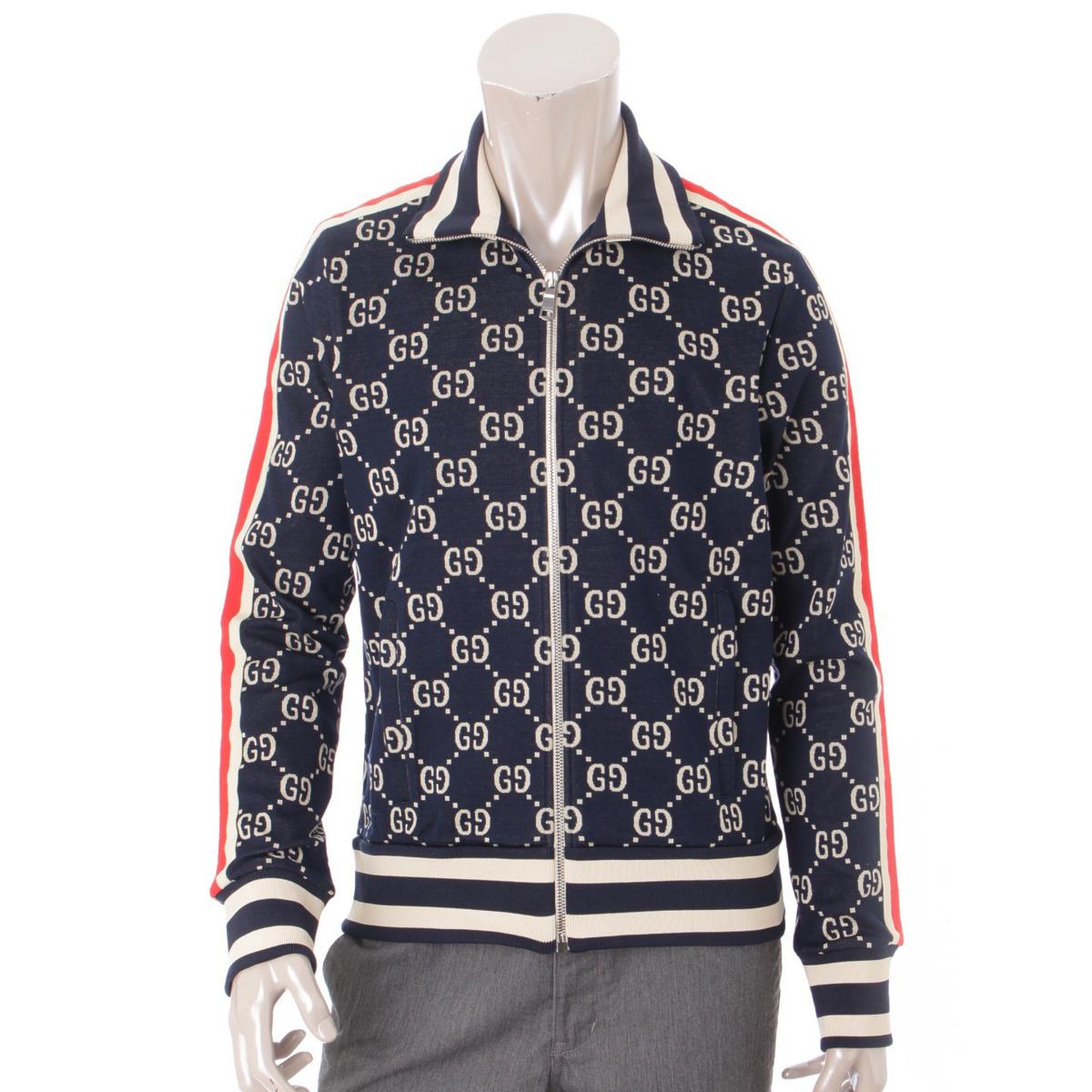 【グッチ】Gucci 18SS メンズ GGジャカード コットン ジャケット 496919 ネイビー XS 未使用【中古】【鑑定済・正規品保証】57512