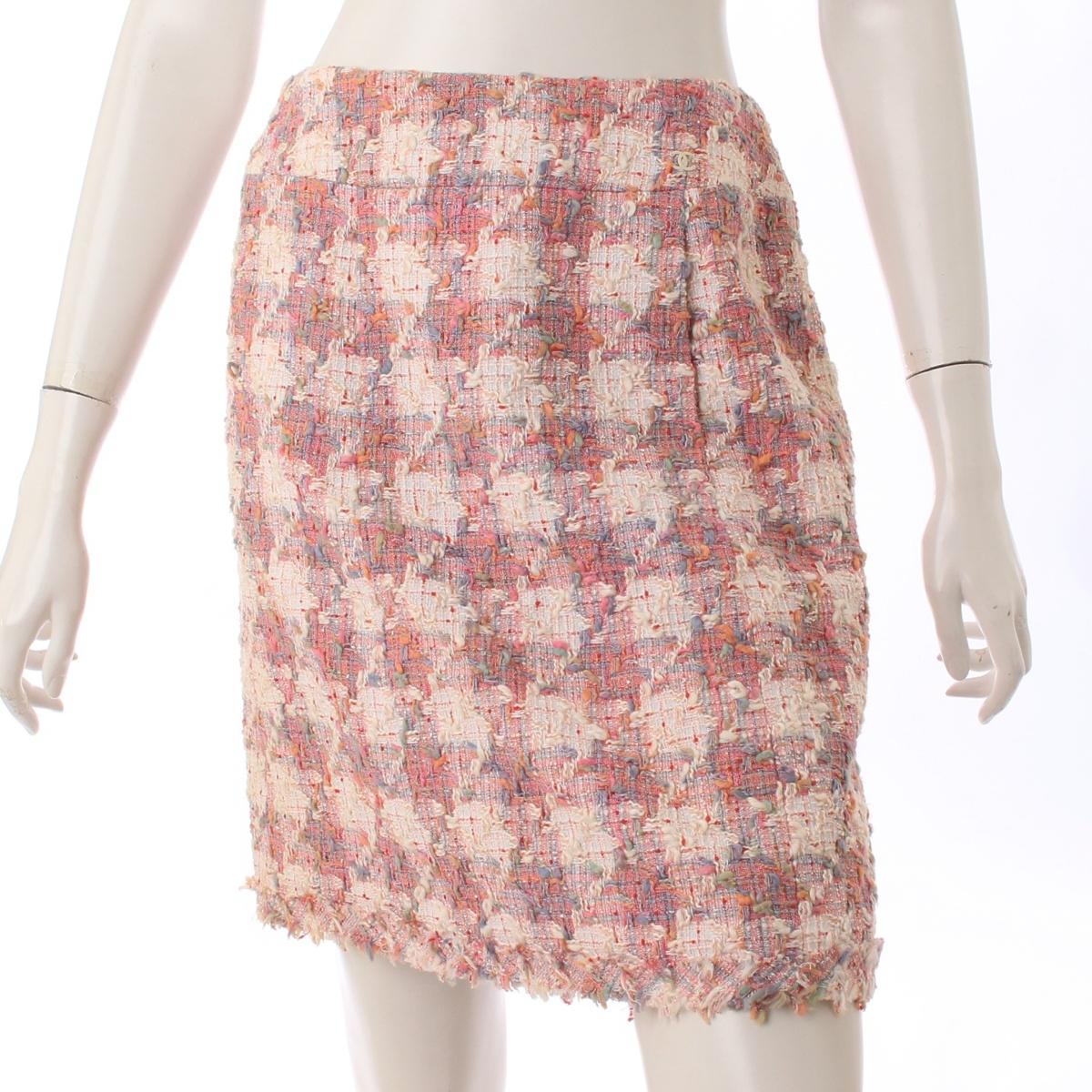 【30%OFFセール】【シャネル】Chanel 04P ツイード スカート P23595 ピンク 38 【中古】【鑑定済・正規品保証】59186