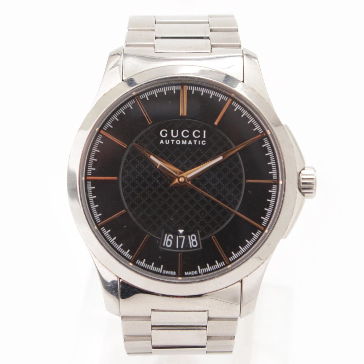 【グッチ】Gucci Gタイムレス 自動巻き SS 腕時計 シルバー ブラック 【中古】【鑑定済・正規品保証】58502