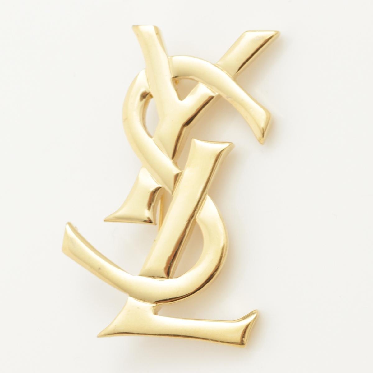 【イヴ・サンローラン】Yves Saint Laurent YSL ロゴ ブローチ ゴールド 【中古】【鑑定済・正規品保証】58645