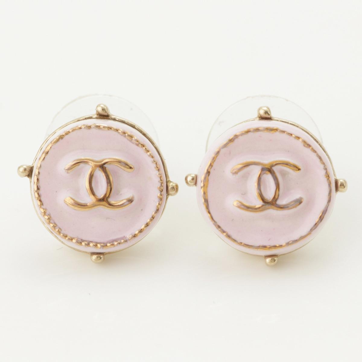 【シャネル】Chanel A19C ココマーク ラウンド ピアス AB0722 ピンク 【中古】【鑑定済・正規品保証】62462