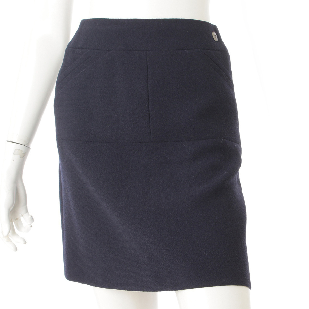 【シャネル】Chanel 97A ウール スカート P09334 ネイビー 40 【中古】【鑑定済・正規品保証】61114