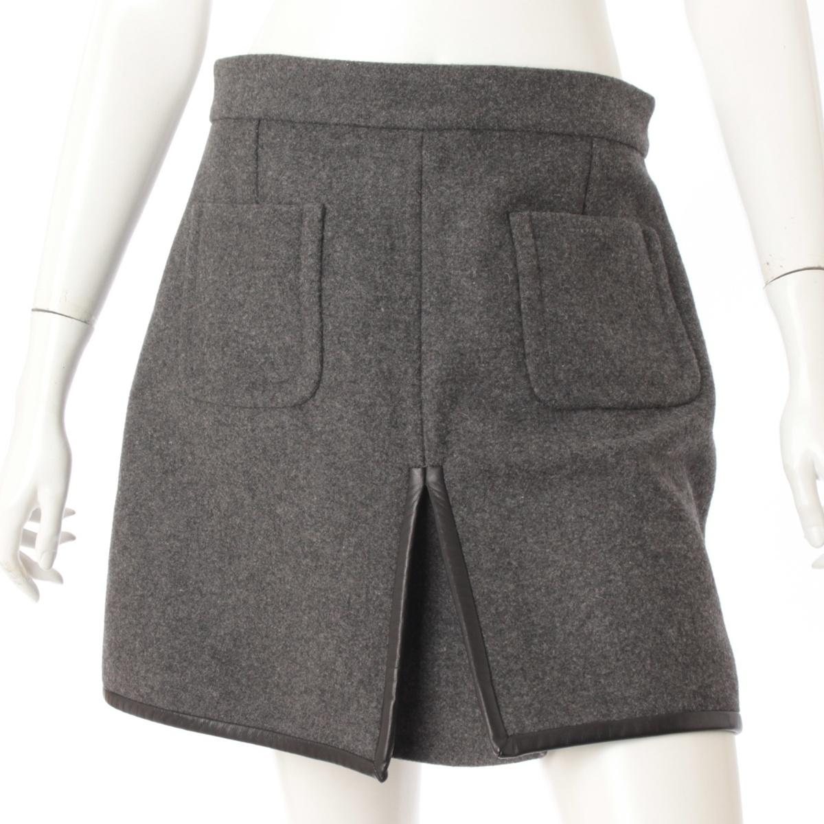 【20%OFFセール】【セリーヌ】Celine ウール パッチポケット スカート グレー 40 【中古】【鑑定済・正規品保証】61132
