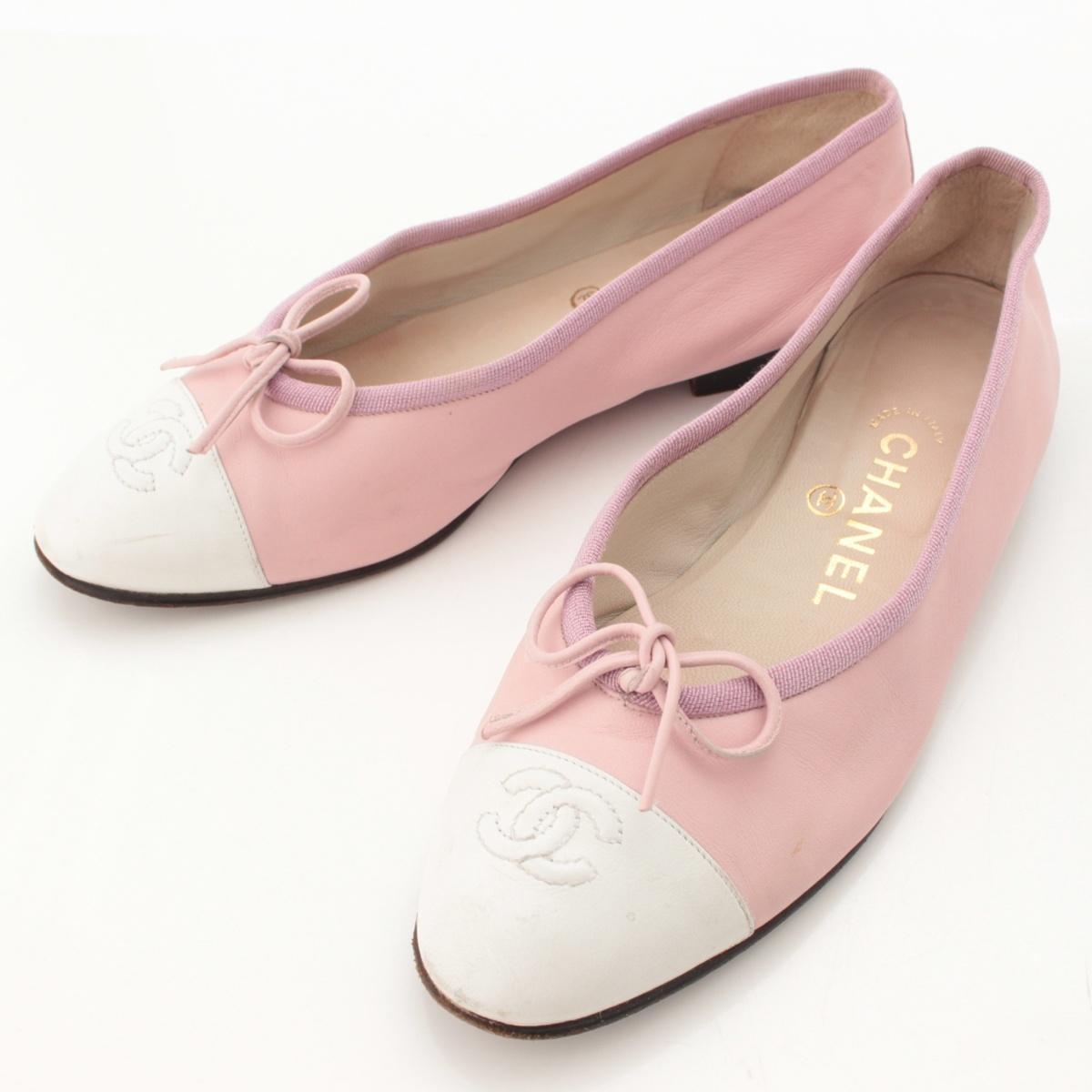 【シャネル】Chanel ココマーク リボン レザー フラットシューズ パンプス ピンク×ホワイト 37 【中古】【鑑定済・正規品保証】64105
