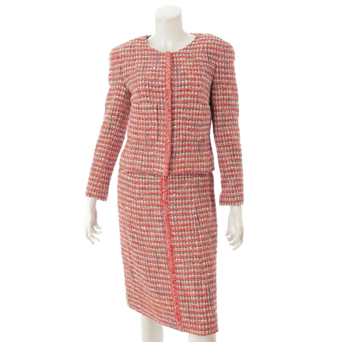 【シャネル】Chanel 03P ミックスツイード ノーカラージャケット スカート スーツ セットアップ レッド 40 【中古】【鑑定済・正規品保証】63555