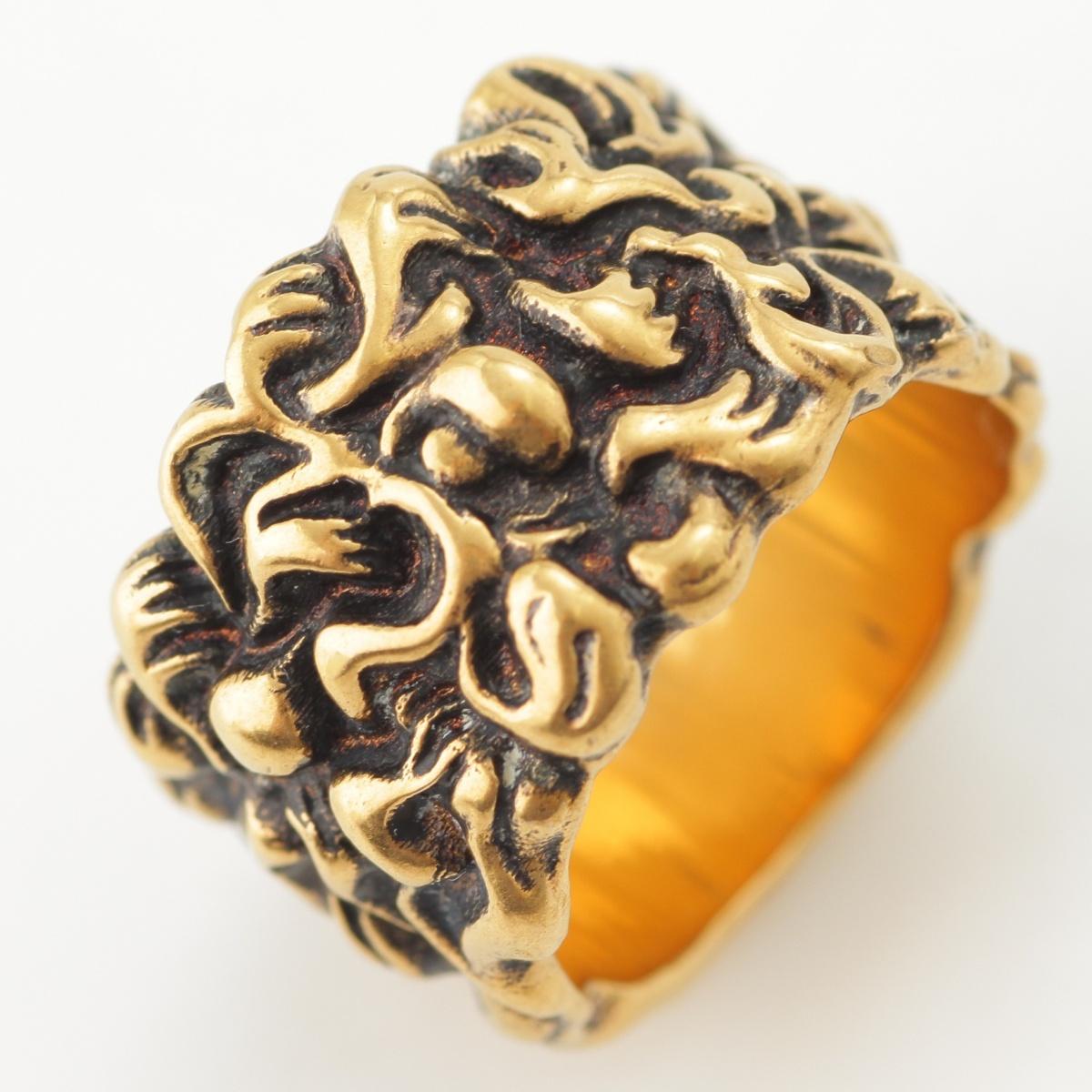 【グッチ】Gucci ライオン たてがみ リング 指輪 476854 ゴールド M 15号 【中古】【鑑定済・正規品保証】65500