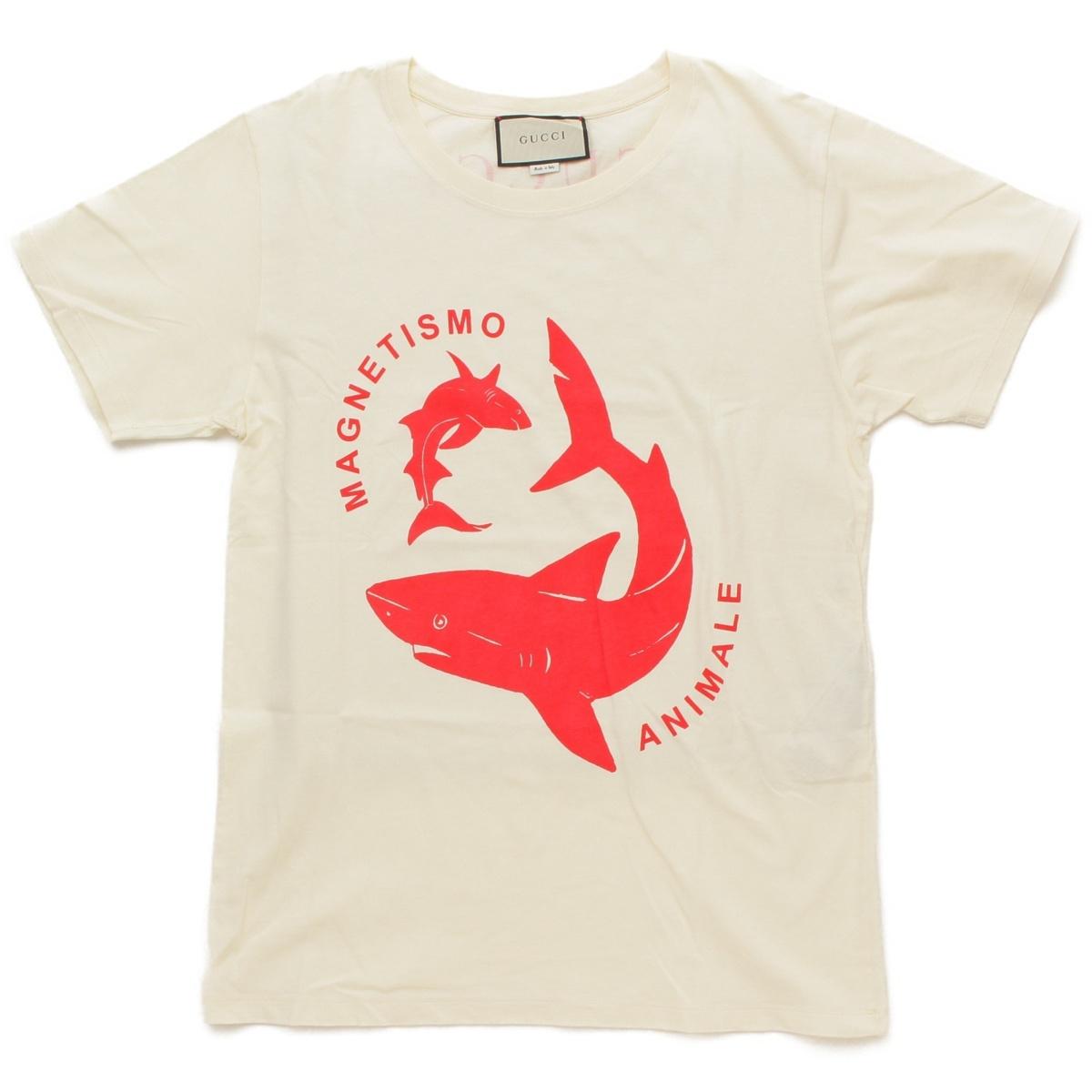 【10%OFFセール】【グッチ】Gucci 18SS シャーク Tシャツ 493117 アイボリー レッド XS 【中古】【鑑定済・正規品保証】65085