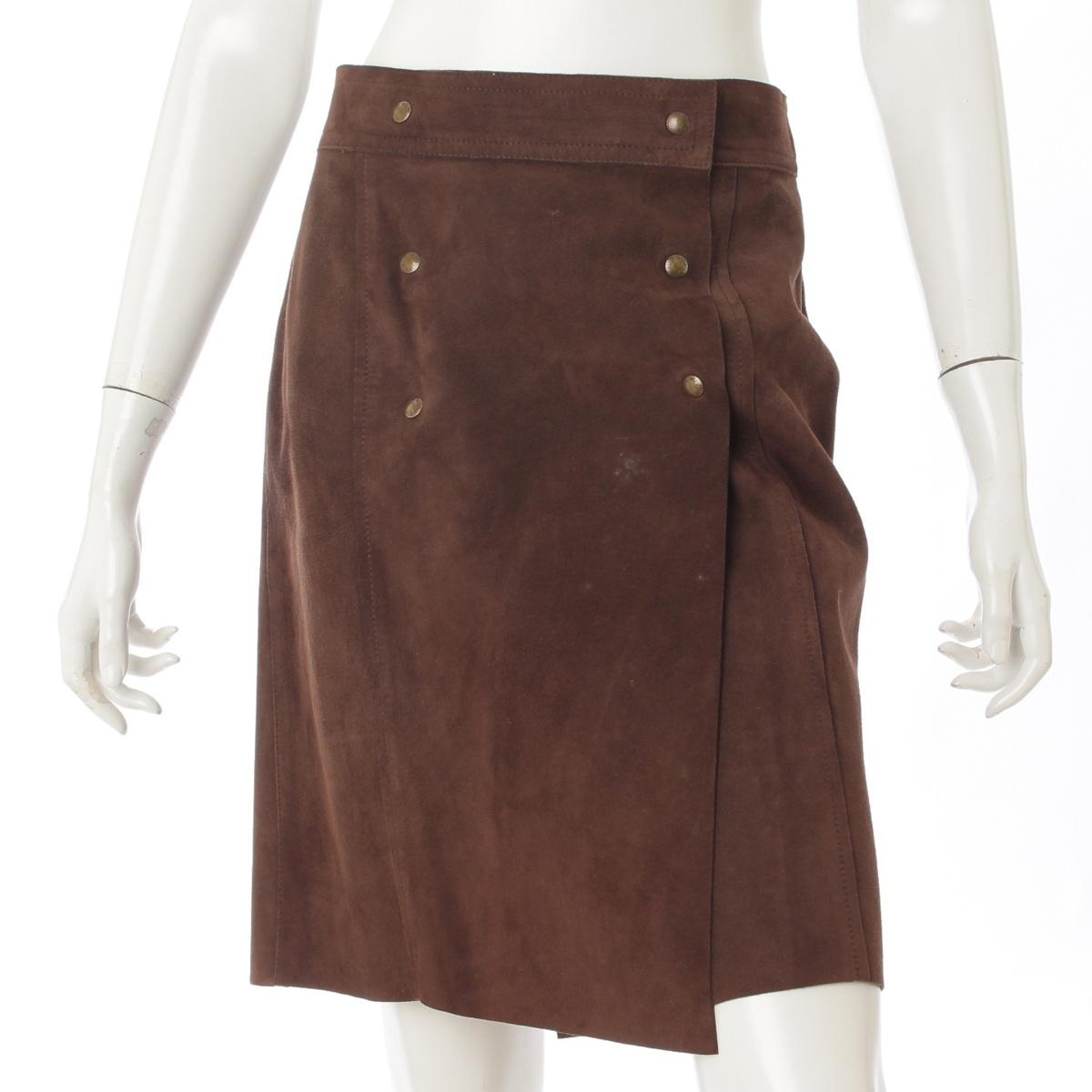 【ルイヴィトン】Louis Vuitton スエード レザー ラップスカート ブラウン 38 【中古】【鑑定済・正規品保証】65525