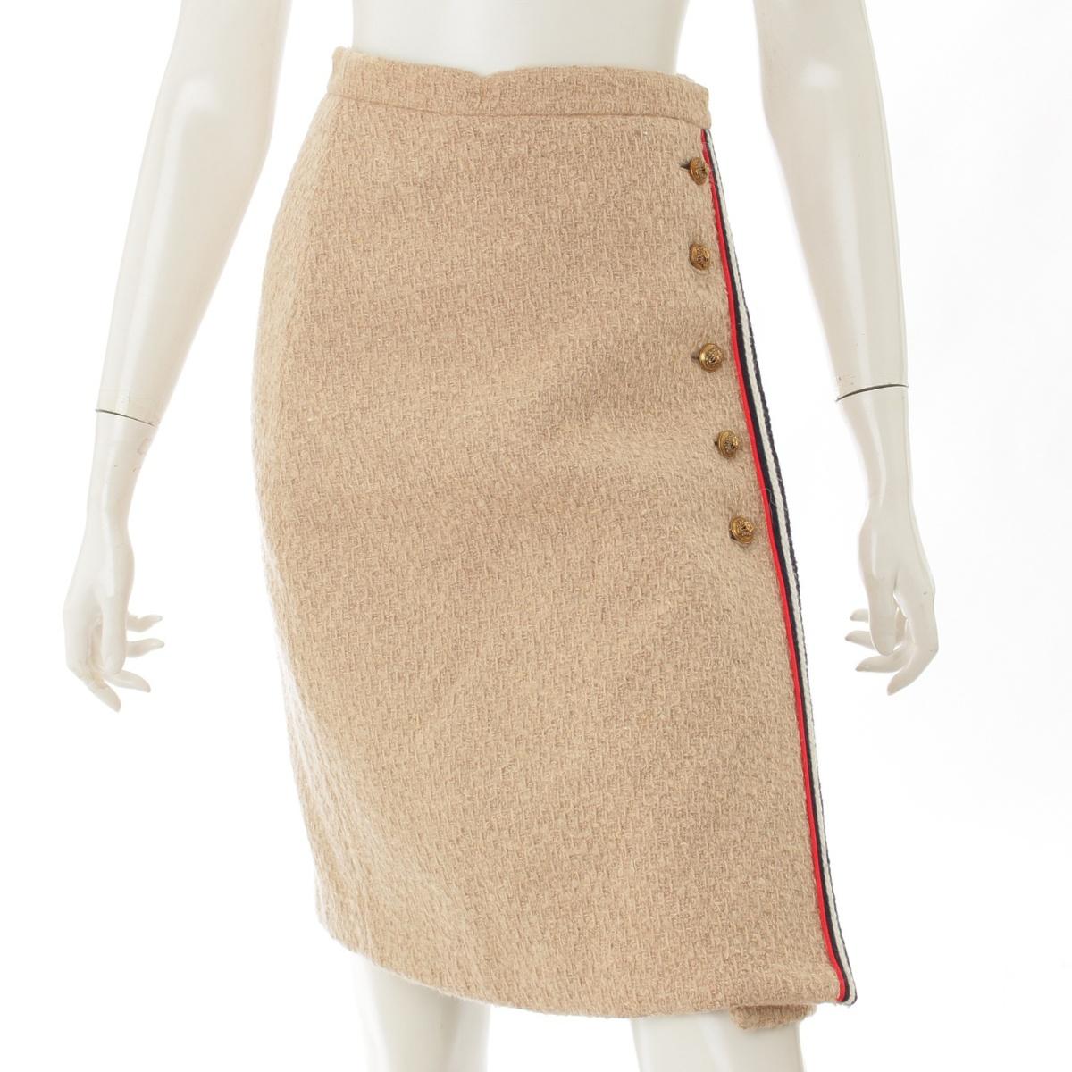 【20%OFFセール】【グッチ】Gucci ライオンボタン ウール スカート 482226 ベージュ 36 【中古】【鑑定済・正規品保証】66282