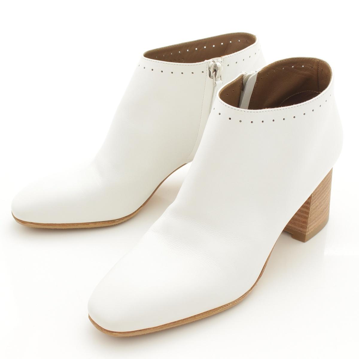 【エルメス】Hermes 19SS トルナード レザー パンチング ブーティ ショート ブーツ ホワイト 36 【中古】【鑑定済・正規品保証】66493