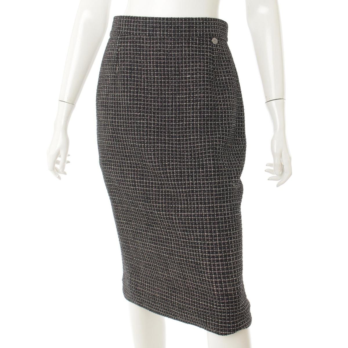 【シャネル】Chanel 12P ラメツイード スカート P43052 ブラック 40 【中古】【鑑定済・正規品保証】67762