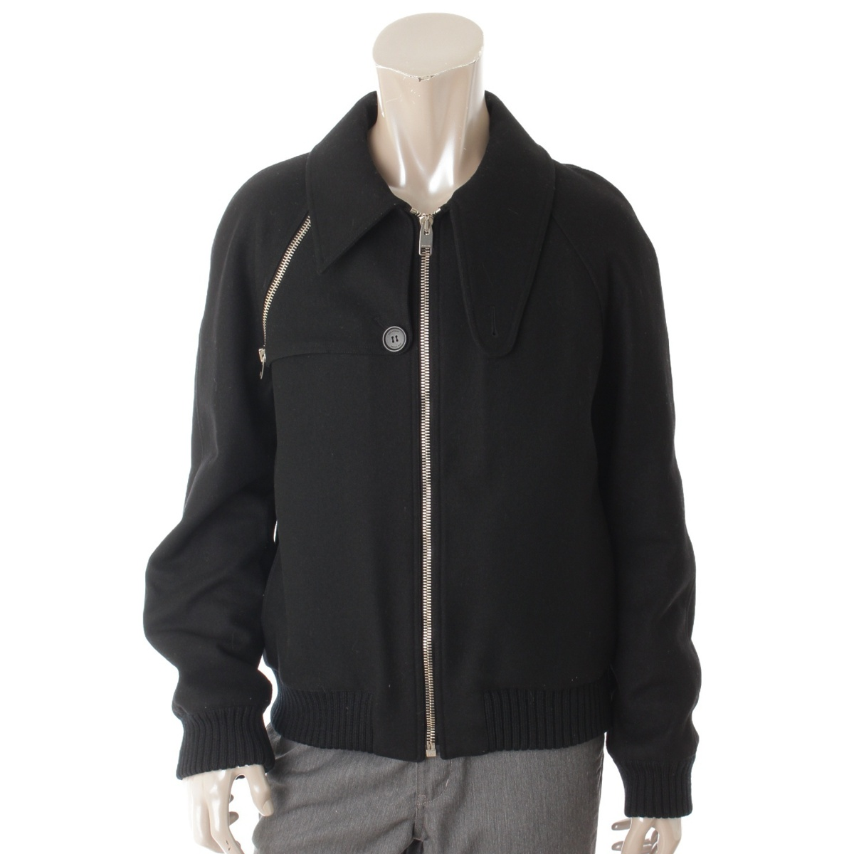 【30%OFFセール】【ディオールオム】Dior Homme メンズ ウール ブルゾン ジャケット ブラック 48 【中古】【鑑定済・正規品保証】68909
