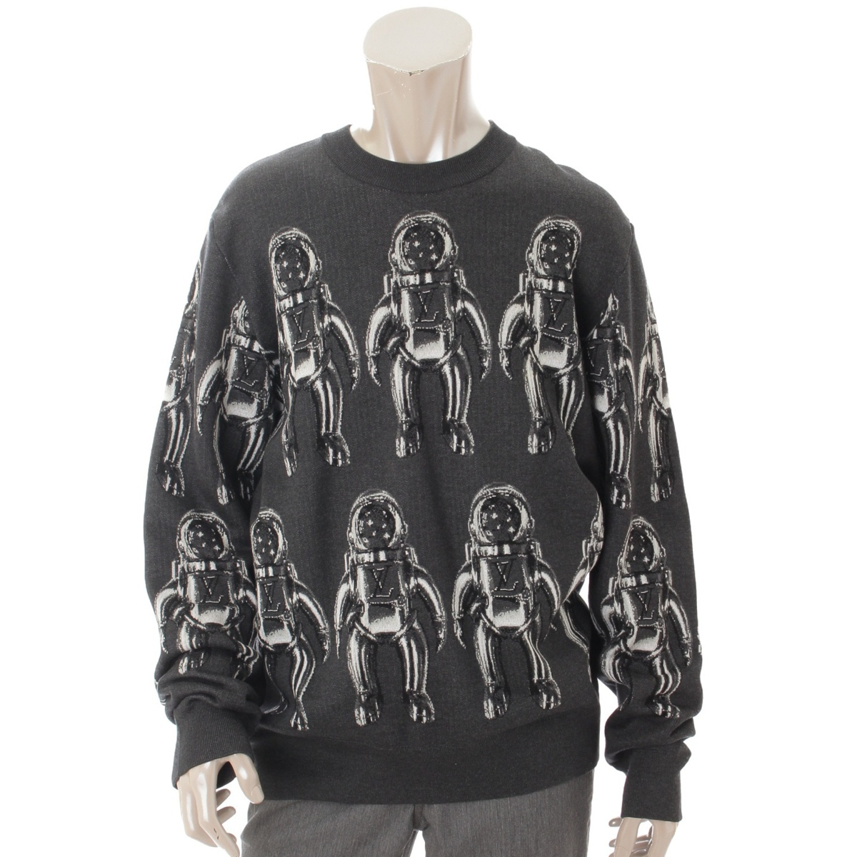 【20%OFFセール】【ルイヴィトン】Louis Vuitton 19SS メンズ スペースマン ニット トップス セーター グレー XL 【中古】【鑑定済・正規品保証】68592