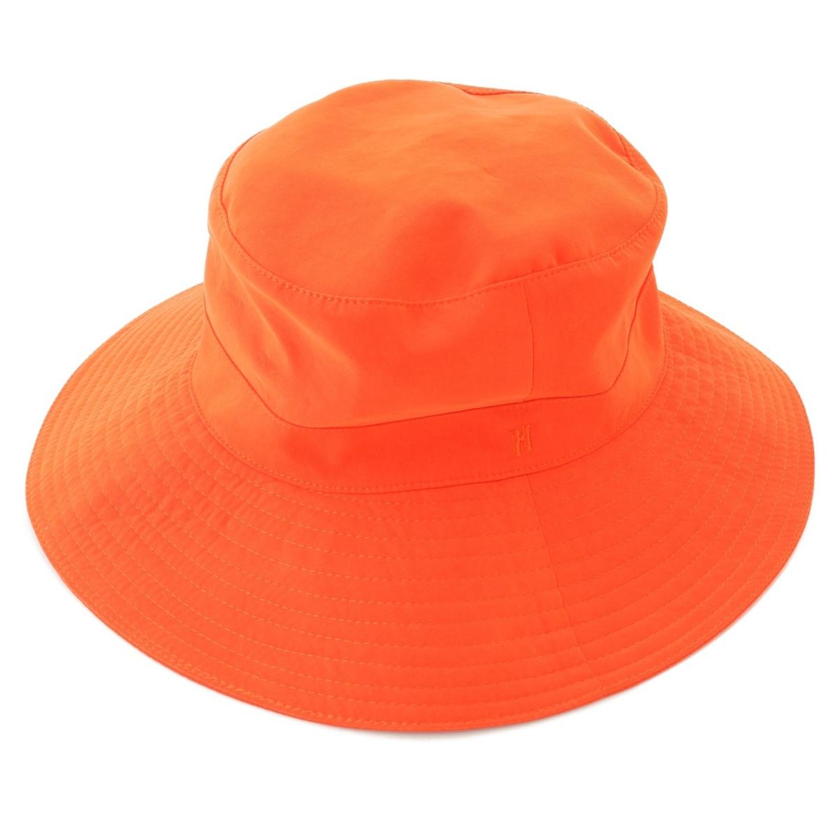【エルメス】Hermes H刺繍 ハット 帽子 オレンジ 56 【中古】【鑑定済・正規品保証】70172