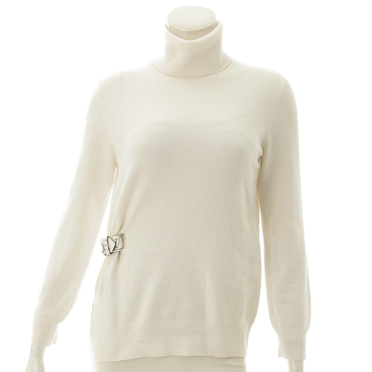 【ルイヴィトン】Louis Vuitton カシミア ハイネック ベルト付き セーター ホワイト XS 【中古】【鑑定済・正規品保証】71133