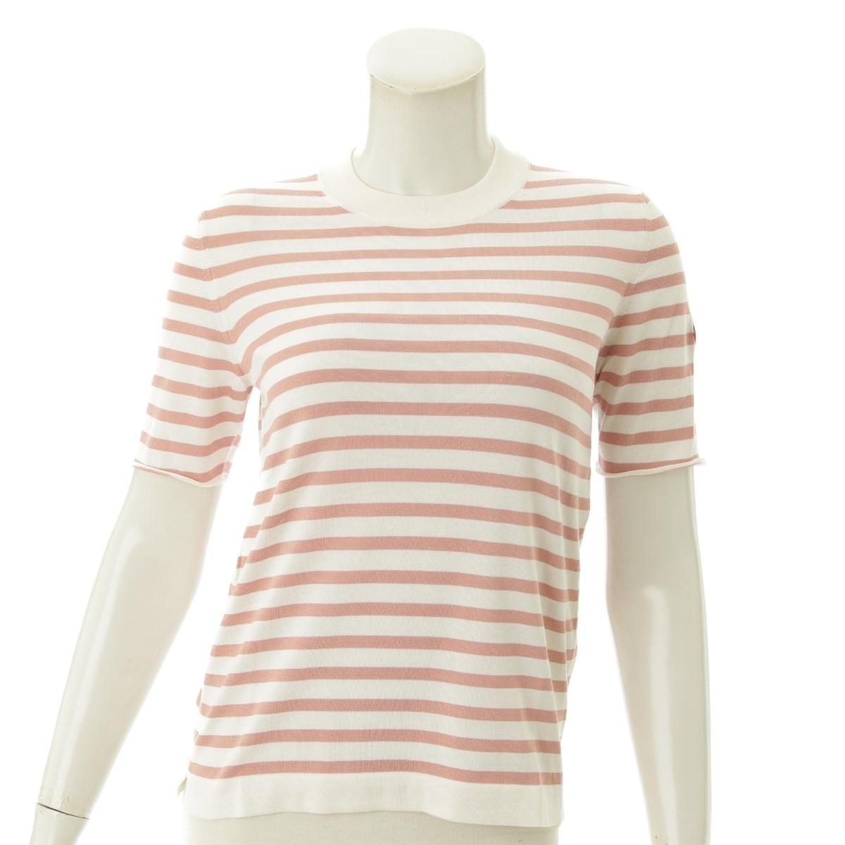 【ルイヴィトン】Louis Vuitton シルク ボーダーニットTシャツ ピンク XS 【中古】【鑑定済・正規品保証】71127
