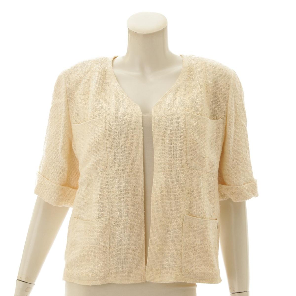 【シャネル】Chanel 99P ツイード ジャケット 五分袖 P12676 ホワイト 38 【中古】【鑑定済・正規品保証】72945