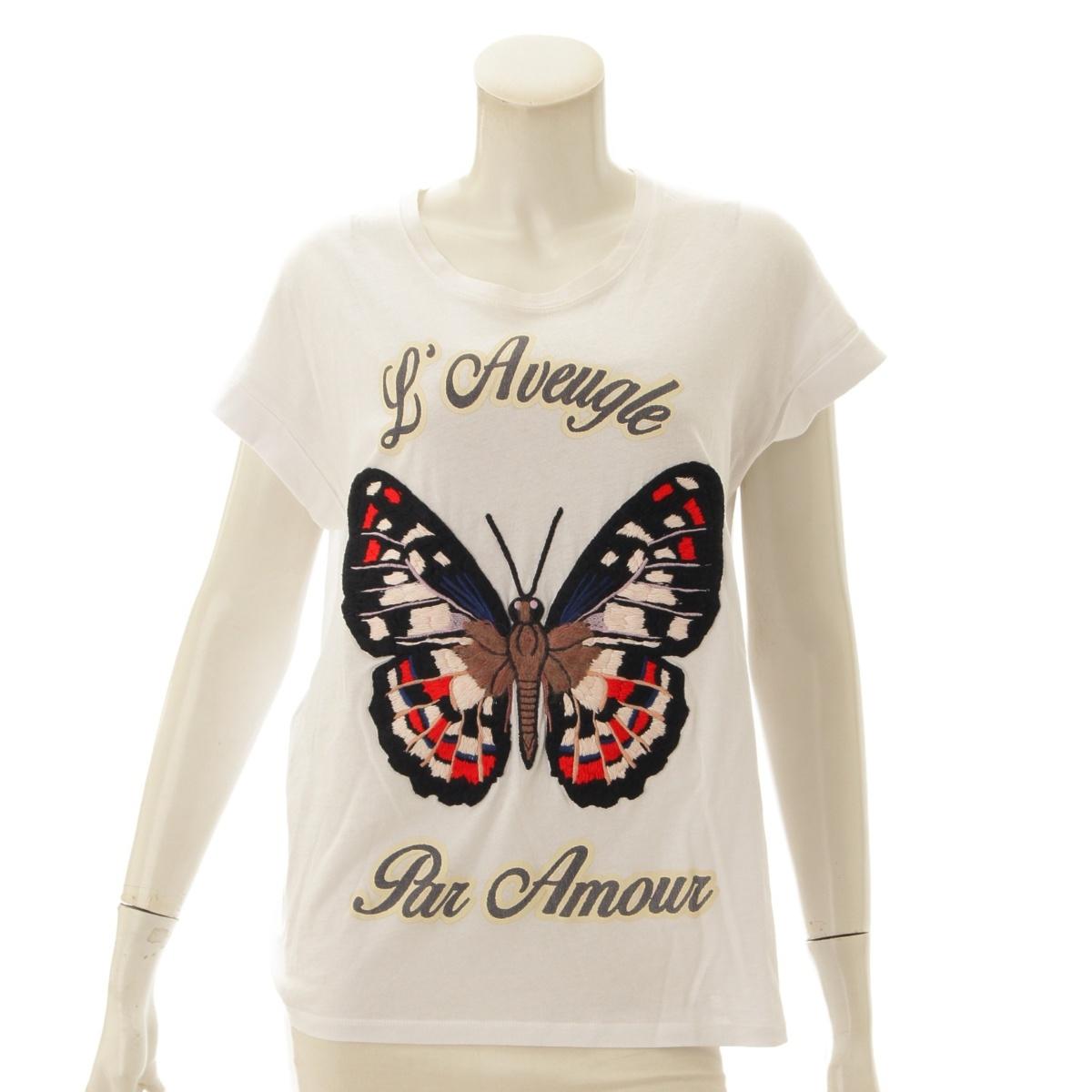 【10%OFFセール】【グッチ】Gucci バタフライ 刺繍 Tシャツ 434543 ホワイト S 【中古】【鑑定済・正規品保証】72028