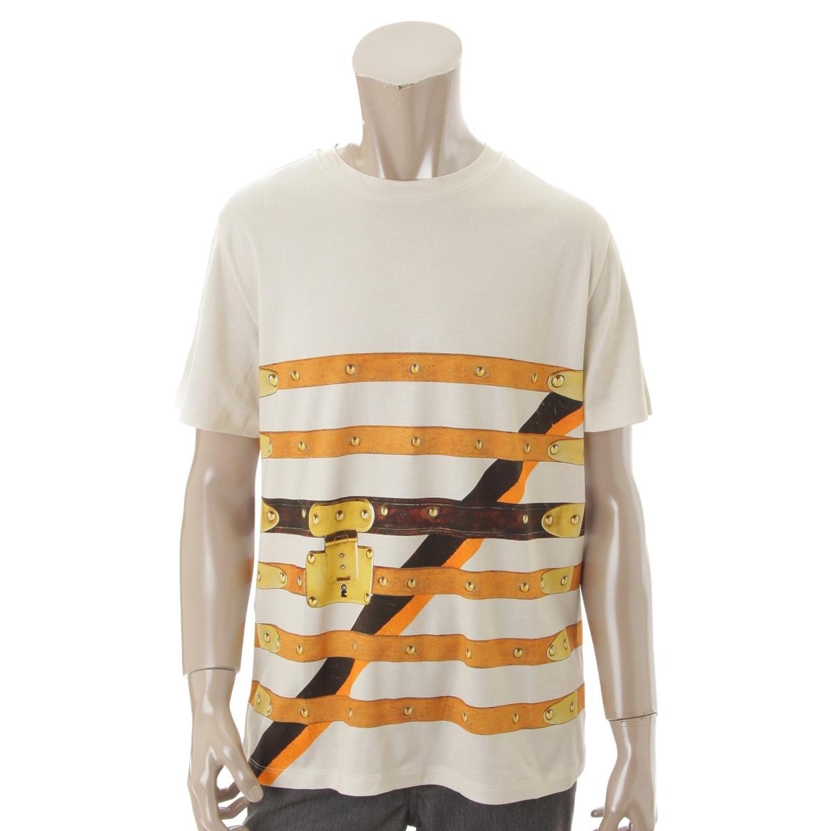 【20%OFFセール】【ルイヴィトン】Louis Vuitton タイムトランク ベルト柄 Tシャツ ホワイト XL 【中古】【鑑定済・正規品保証】72063