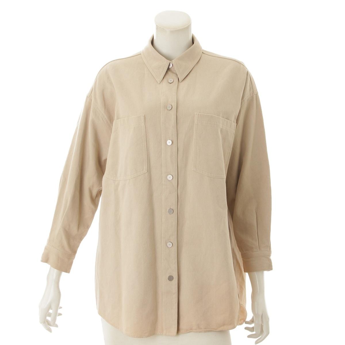 【シャネル】Chanel コットン シャツ ジャケット P12336 ベージュ 36 【中古】【鑑定済・正規品保証】73171