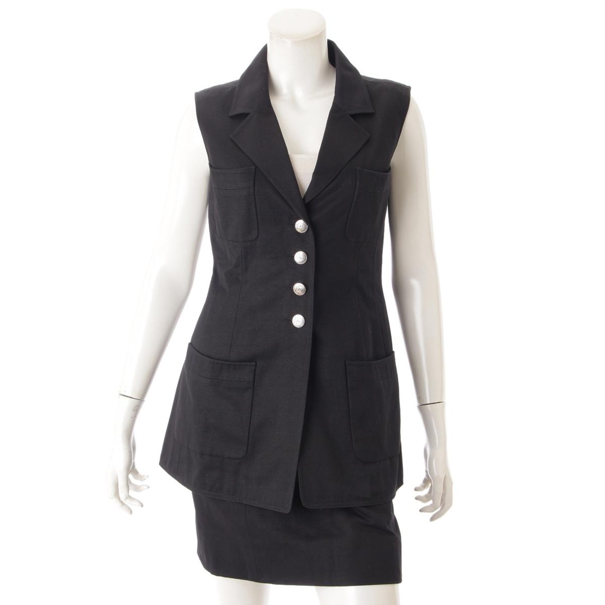 【シャネル】Chanel  97C ノースリーブ セットアップ スカート P08898 ブラック 38 【中古】【鑑定済・正規品保証】73175