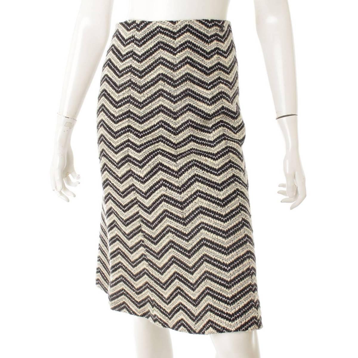 【シャネル】Chanel 02A ココマーク ラインストーン ツイード スカート P19873 ブラック×ホワイト 38 【中古】【鑑定済・正規品保証】80444