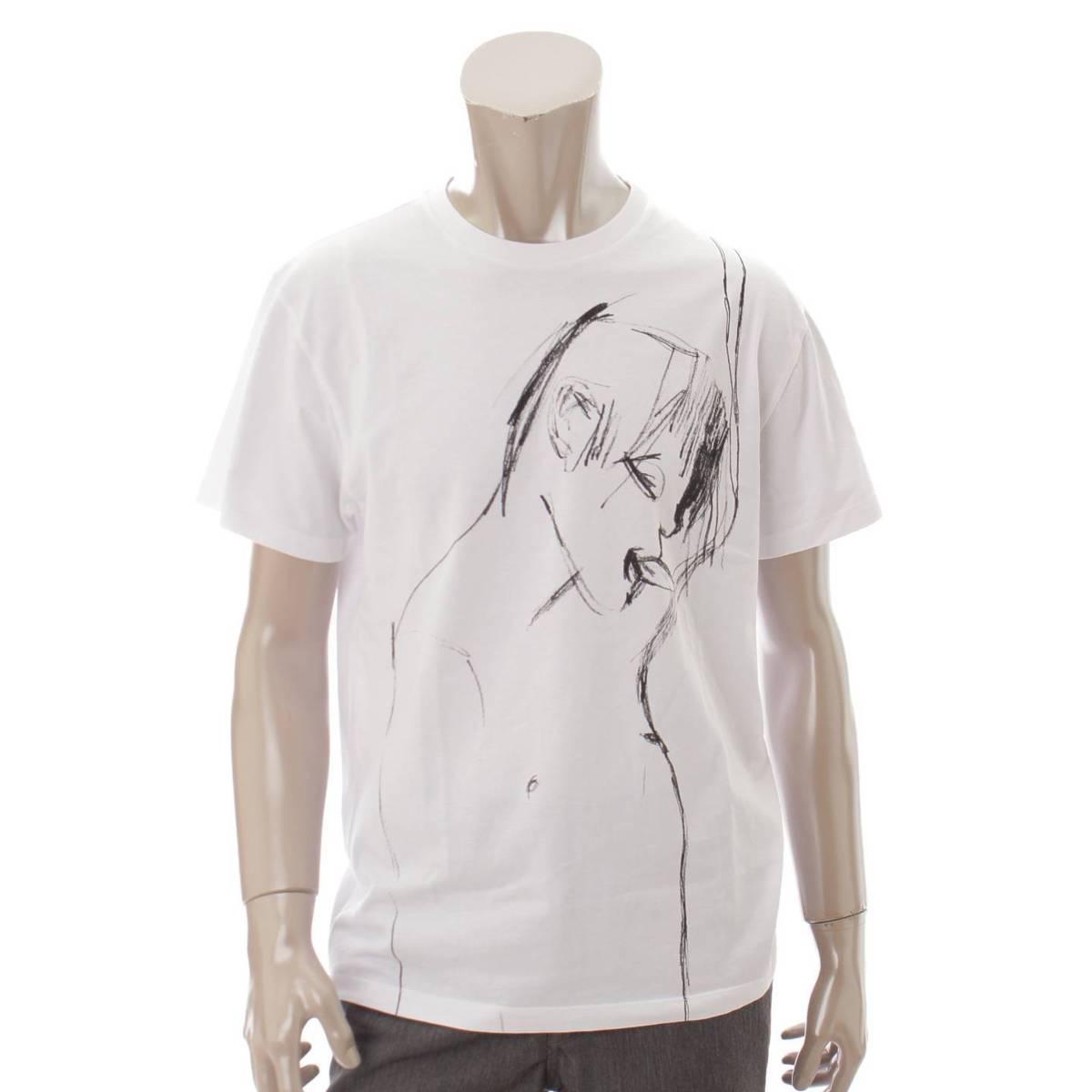 【ロエベ】Loewe 2019 コットン プリントTシャツ ホワイト S 【中古】【鑑定済・正規品保証】80869
