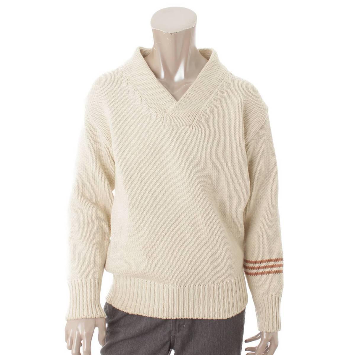 【メゾンマルジェラ】Maison Margiela メンズ 18AW エルボーパッチ セーター ニット アイボリー M 【中古】【鑑定済・正規品保証】80689
