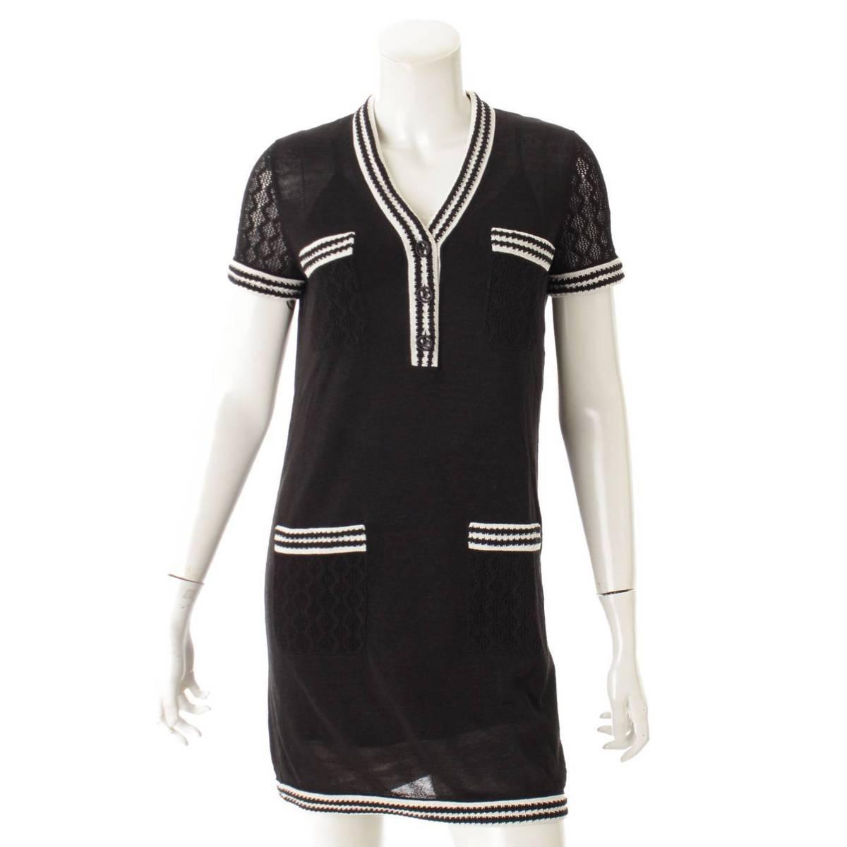 【シャネル】Chanel 19P シルク キャミソール付き 半袖 ニット ワンピース ドレス P60682 ブラック 34 【中古】【鑑定済・正規品保証】82518