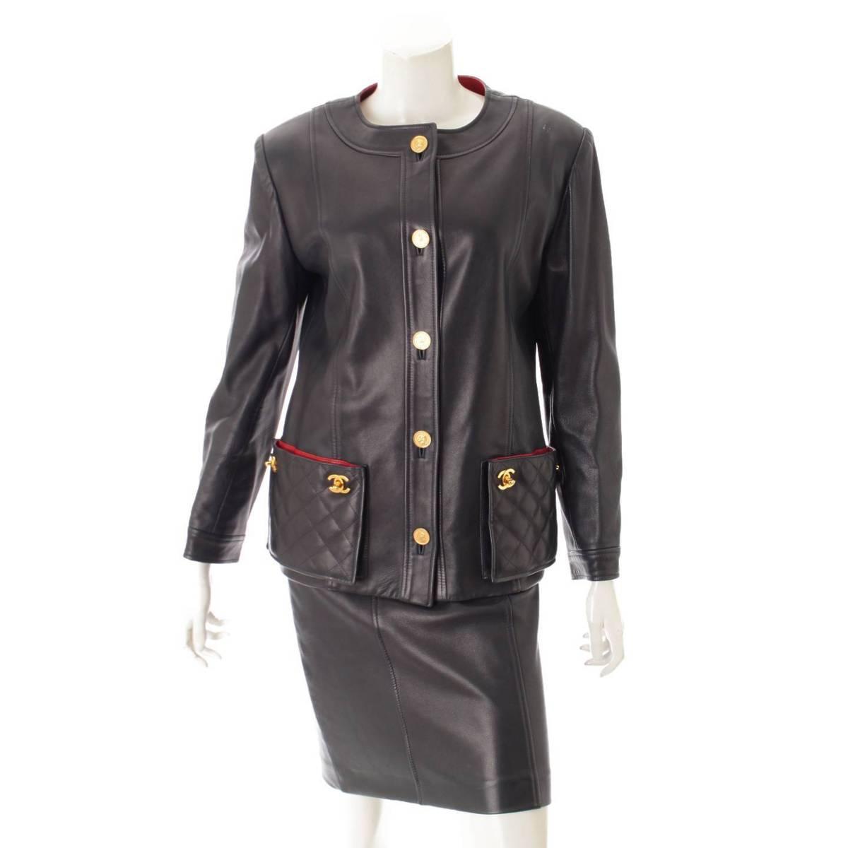 【シャネル】Chanel マトラッセ ターンロック コインボタン ラムレザー ジャケット スカート セットアップ 34 【中古】【鑑定済・正規品保証】80741