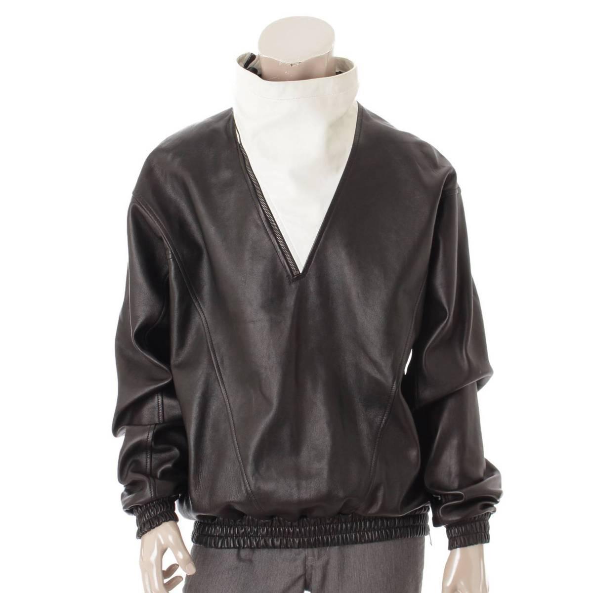 【ジバンシー】GIVENCHY メンズ バイカラー レザージャケット トップス ブラック×ホワイト 48 【中古】【鑑定済・正規品保証】83120