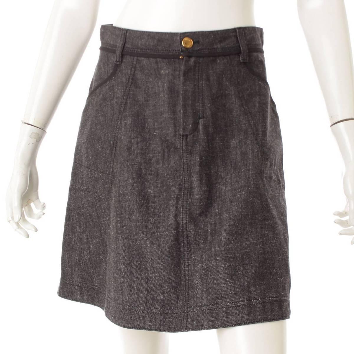 【ルイヴィトン】Louis Vuitton デニム スカート 38 【中古】【鑑定済・正規品保証】82677