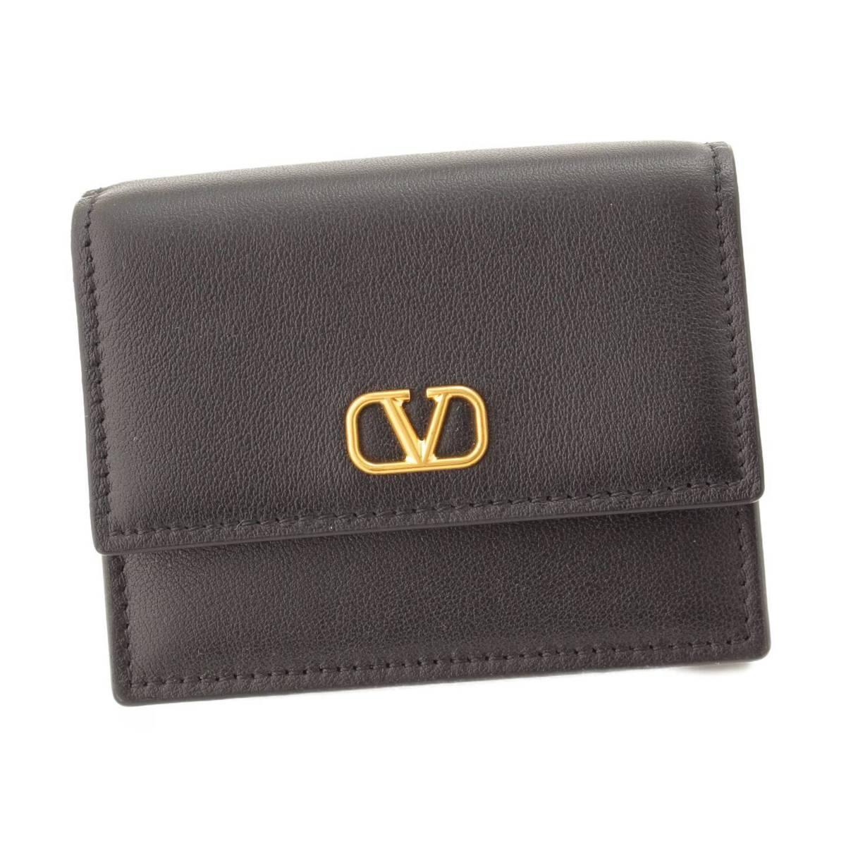 【ヴァレンティノ】Valentino ガラヴァーニ レザー 二つ折り 財布 ブラック 未使用【中古】【鑑定済・正規品保証】83948