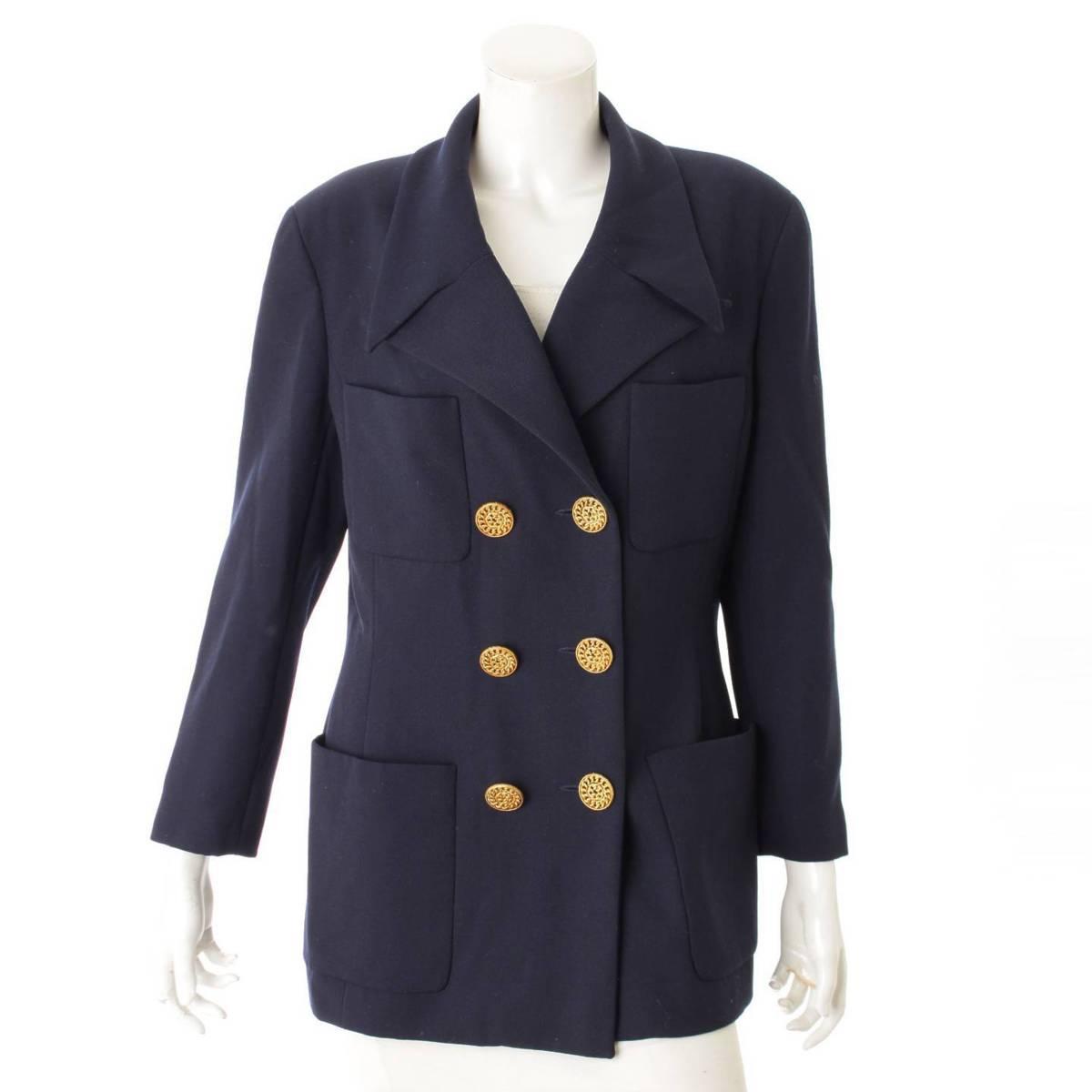 【シャネル】Chanel ヴィンテージ ダブルジャケットコート ネイビー 44 【中古】【鑑定済・正規品保証】83818