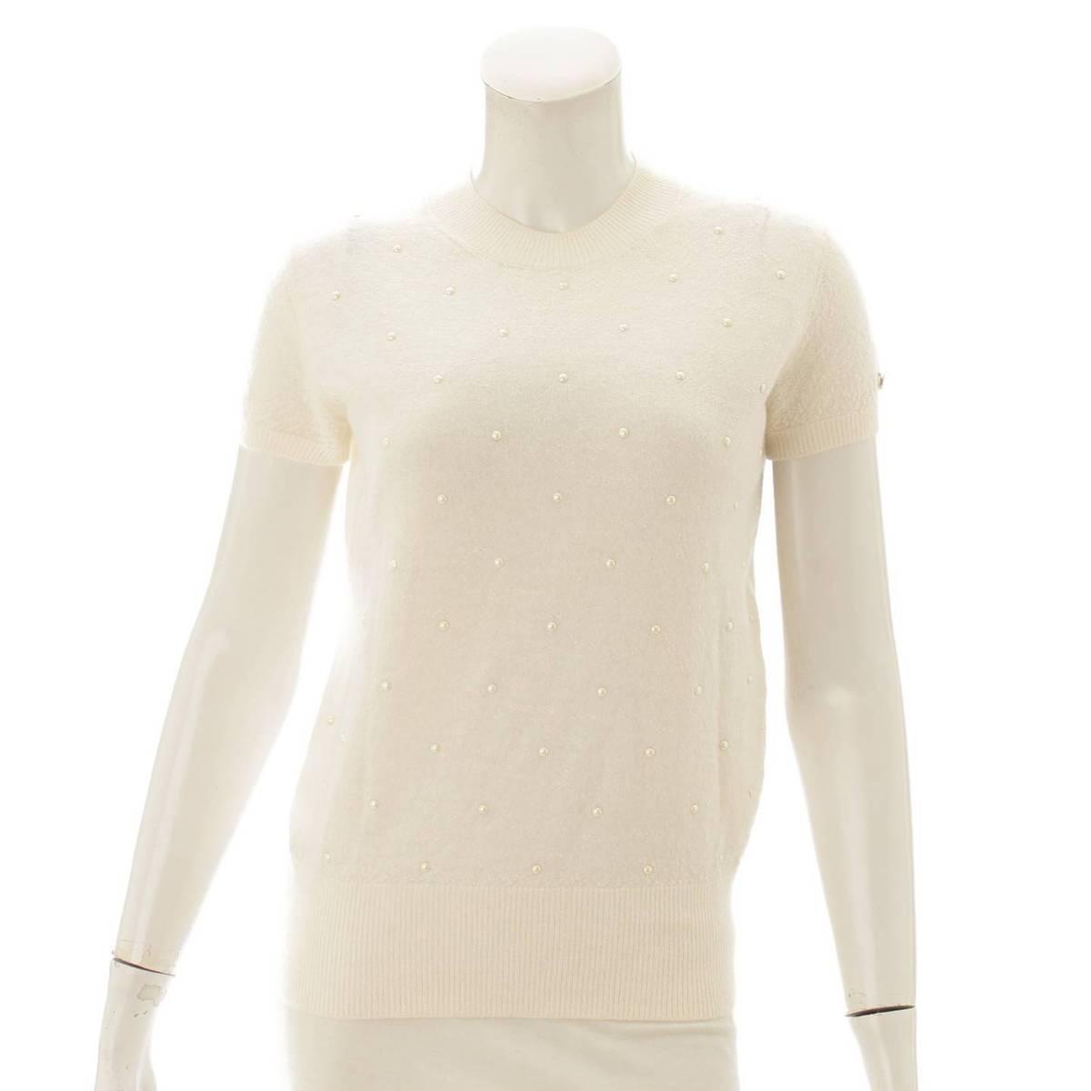 【シャネル】Chanel カシミヤ混 半袖ニット セーター トップス P50076 ホワイト 36 【中古】【鑑定済・正規品保証】84708