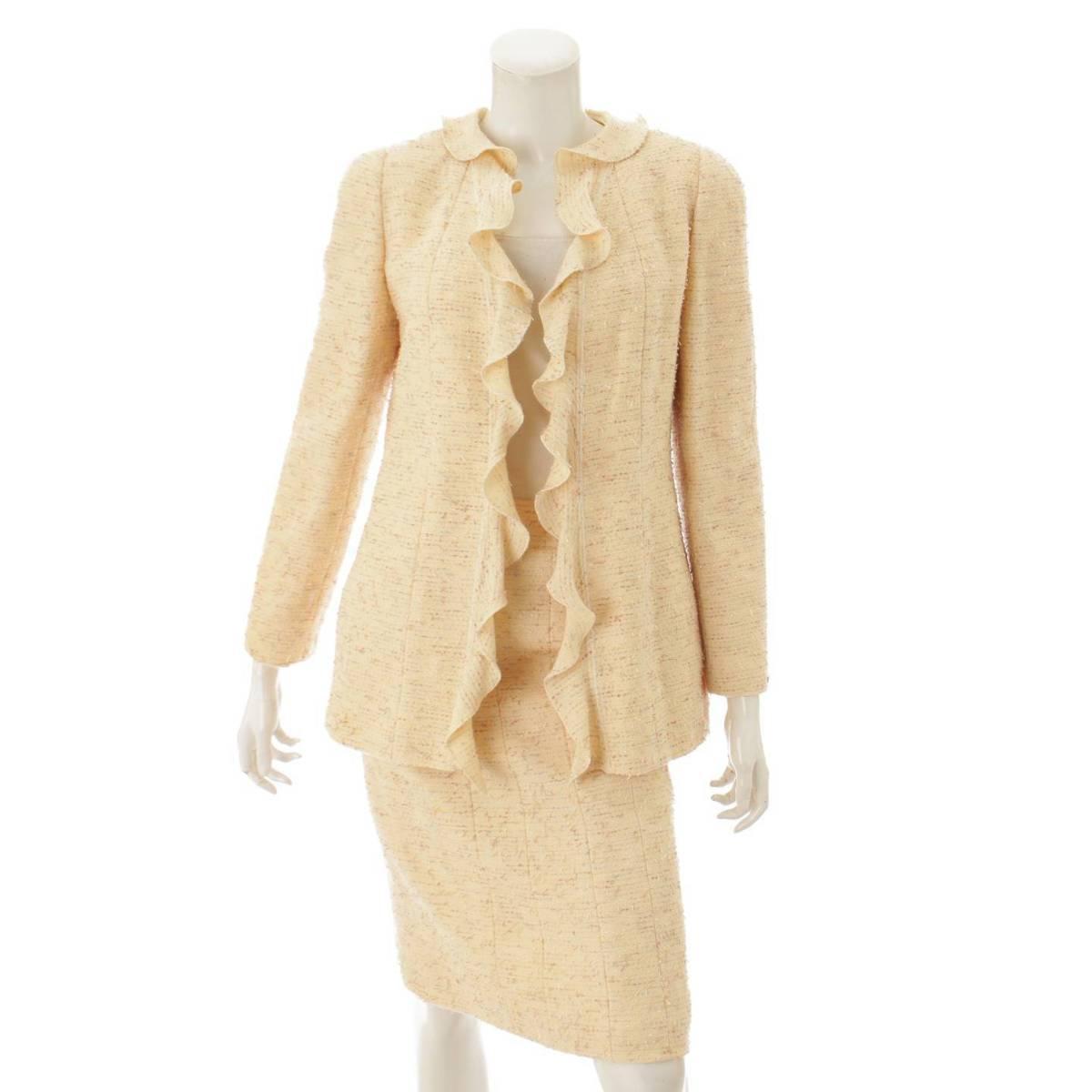 【シャネル】Chanel 99A ツイード ジャケット スカート スーツ セット P14314 アイボリー 38 【中古】【鑑定済・正規品保証】82978