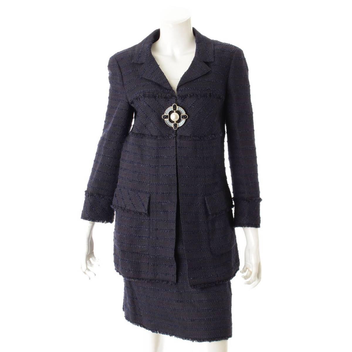 【シャネル】Chanel 07A ツイード ジャケット スカート P31329 P31379 ネイビー 40 38 【中古】【鑑定済・正規品保証】82977