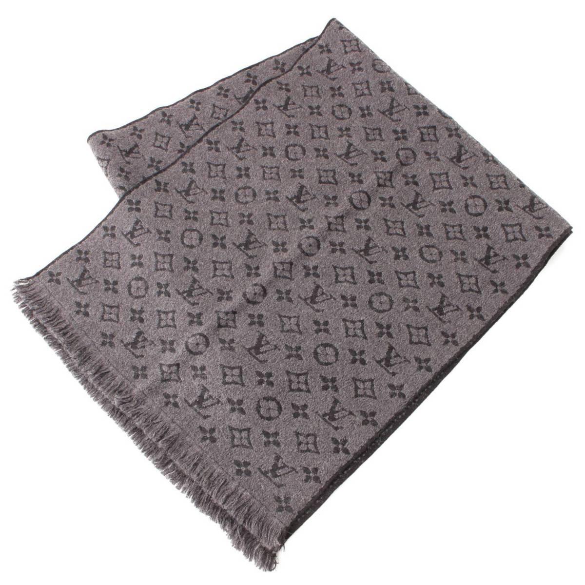 【ルイヴィトン】Louis Vuitton エシャルプ・モノグラム クラシック ウール マフラー ストール M78526 アントラシット 【中古】【鑑定済・正規品保証】83814
