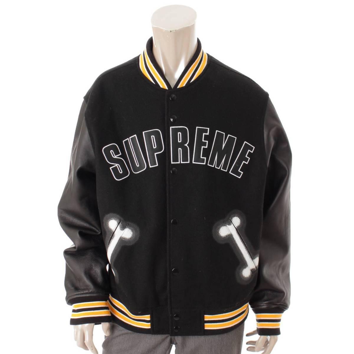 【シュプリーム】Supreme メンズ Bone Varsity Jacket スタジャン ブラック L 【中古】【鑑定済・正規品保証】84537