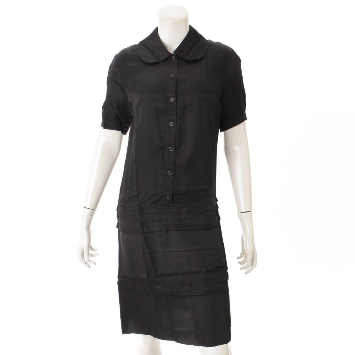 【セリーヌ】Celine 半袖 ボタン ワンピース ドレス ブラック 36 【中古】【鑑定済・正規品保証】85752