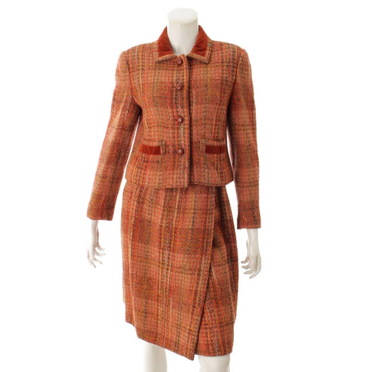 【シャネル】Chanel ミックスツイード ジャケット ラップスカート スーツ セットアップ ブラウン 8 【中古】【鑑定済・正規品保証】86422